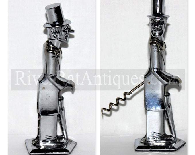 Prohibition Era 1935 Old Snifter Corkscrew, Made by Negbaur of New York, Head Turns to Operate Corkscrew