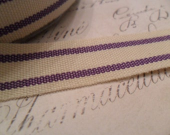 French Style Organic Cotton Natural and Concord Grape Stripe Ribbon 5/8 inches wide