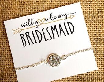 Bridesmaid Proposal Gift - Druzy Bracelet - Bridal Party Jewelry