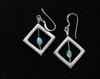 Silver, square, dangle earrings with turquoise colored glass bead