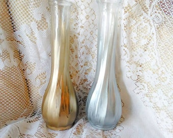 Silver and gold matching vases - Set of 2 painted flower vases - Decorative vases - Gold and silver home decor - Wedding decorations ideas