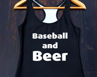 Baseball and Beer Tank Top - funny baseball shirt, womens baseball top, baseball mom tshirt, funny baseball tank, baseball mom tank top