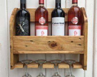 Wine Rack Rustic Holds Four Bottles And Four Glasses