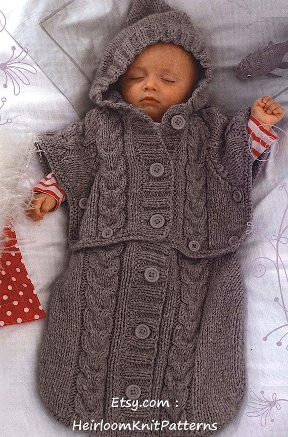 Knit Baby Sleeping Bag Pattern - Converts to Hooded Poncho Baby Boy ...