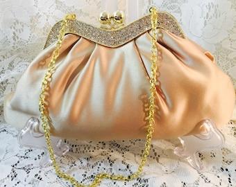 Jessica McClintock Champaigne Satin Purse Gold Chain - diamonds