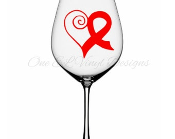 Heart Ribbon Decal Small - Cancer Awareness / Support Heart Ribbon Vinyl Decal Decal Small for Wine Glasses, Mugs, and more