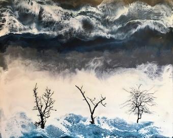 Original Encaustic Painting- Three Craggy Trees