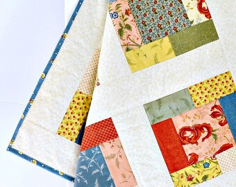 Baby Girl Quilt Blue Gold Coral Patchwork Quilt Baby Play Mat Floral Baby Shower Gift Baby Gift Handmade Baby Blanket - Lilies of the Field
