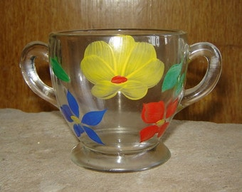 Painted Floral Glass Sugar Bowl