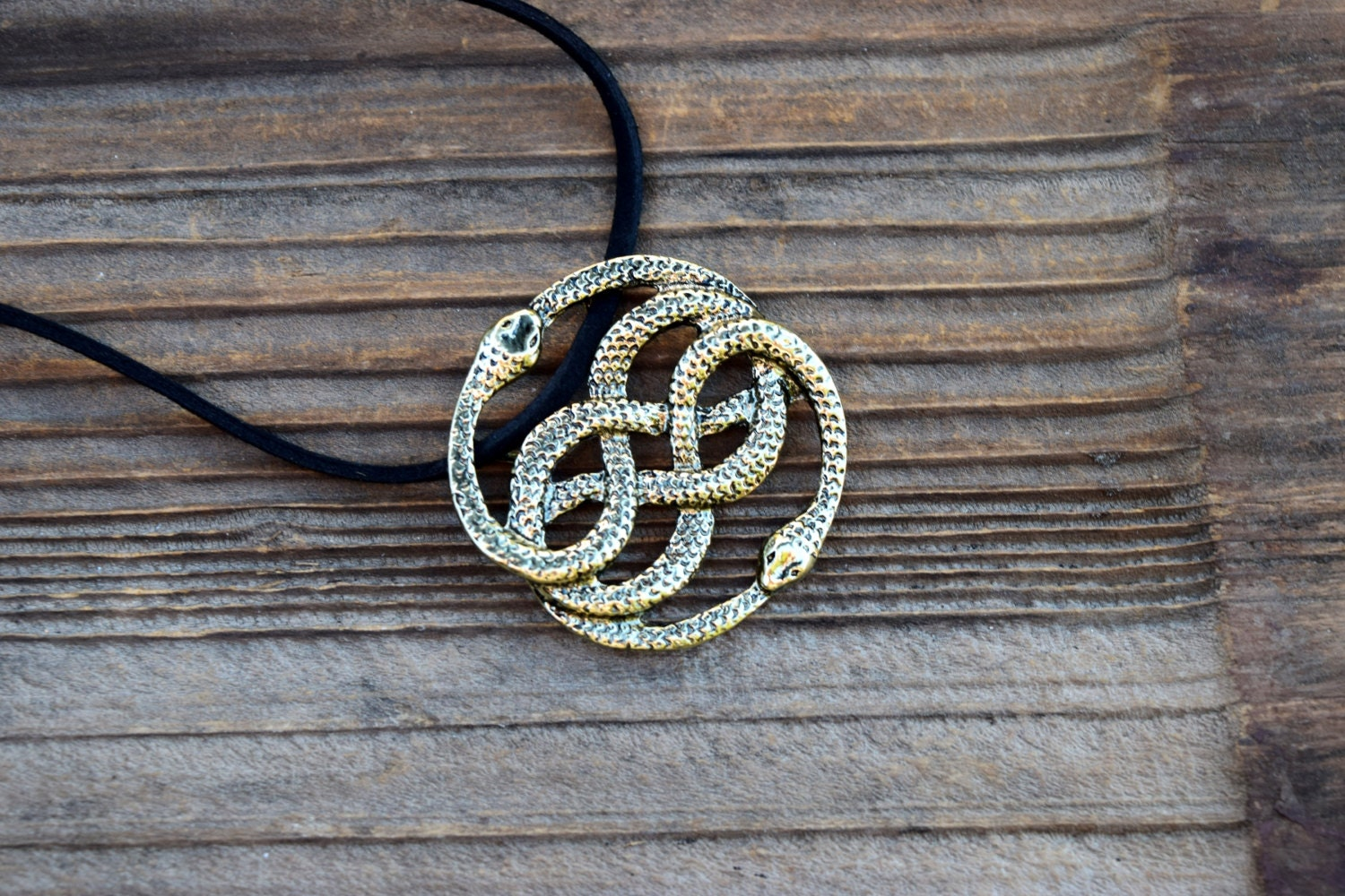 Neverending story antique brass necklace auryn necklace leather fishes give kisses mozeypictures Choice Image