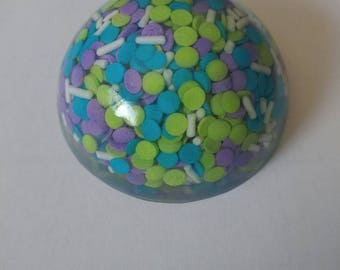 Dome Paperweight with candy sprinkles