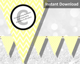 Baby Yellow Chevron Bunting Pennant Banner Instant Download, Party Decorations