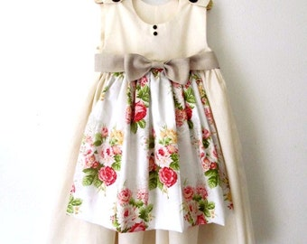 Garden Party Dress - Summer Dress with Floral Apron and Linen Bow up to size 5T - Pleasantly Peasant Apron Dress