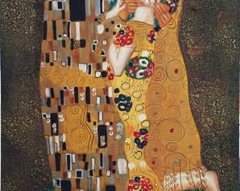 "Rendition of The Kiss by Gustav Klimt. 24"" x 36"" Hand Painted Oil Painting on Canvas. Comes stretched and ready to frame or hang."
