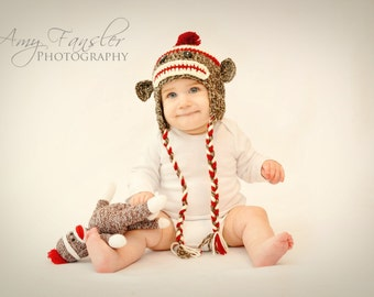 Crochet Hat- Sock Monkey, Child Size