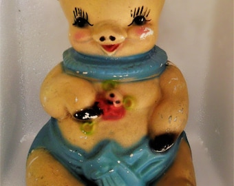 1940's Adorable Chalkware Piggy Bank Carnival Prize
