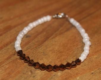 Copper & White Beaded Bracelet