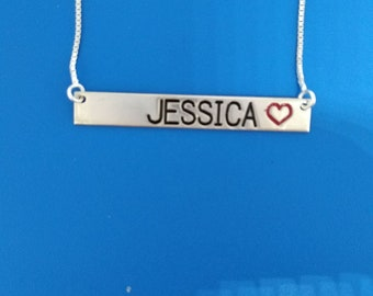 Personalized name bar necklace sterling silver name engraved necklace horizontal bar necklace Jessica necklace any name bar necklace