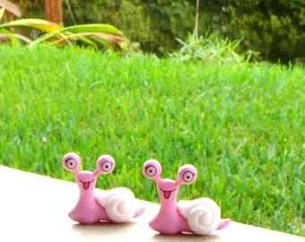 Two Garden Snail Figurines- Miniature Fairy Accessories