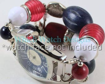 Patriot Dream.. Red, White, and Blue Chunky Interchangeable Beaded Watch Band