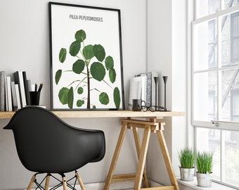 Pilea plant print, garden, home decor, MEANDMK, digital download, printable