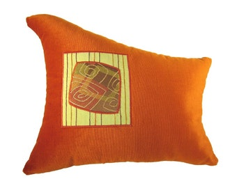 Orange Wave Shaped Funky Modern Decorative Pillow 14 x 16 inches
