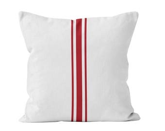 Red Grain Sack Stripe Christmas Throw Pillow Cover, Red Farmhouse Christmas Pillow Cover, Red Stripes Rustic Christmas Cushion Cover  _M