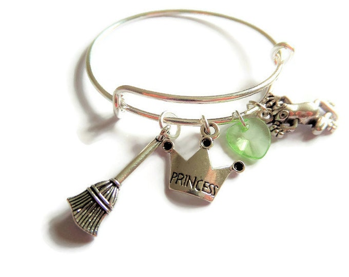 PRINCESS TIANA inspired silver charm bangle / bracelet adult or child size PRINCESS & the frog Jewellery - party bags