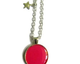 COLLIER sautoir ENFANT ROSE, ados, rose framboise, collier petite fille, bijoux petite fille, cadeau enfant, cadeau petite fille