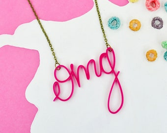 Oh my God Necklace | Millennial Pink Jewellery | OMG Word Necklace | Hand Lettered Laser Cut Necklace | Internet Slang