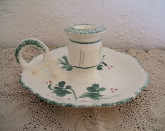 "Charming ""Old World ""Look Candlestick Holder With Finger Handle and Saucer"