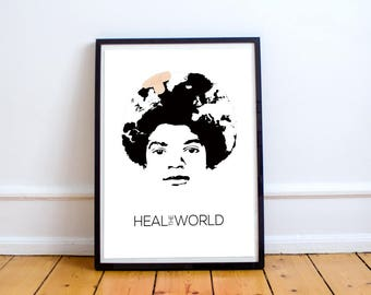 Michael Jackson Poster - Heal the World - Art - Graphic Design - Music Poster - Perfect Gift