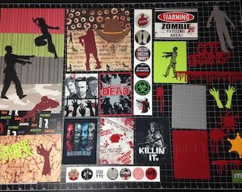 Walking Dead Scrapbook Kit. ZOMBIE ATTACK! Themed Scrapbook Kit, Scrapbook Paper, Project Life, Planner, die cuts, Rick, Darryl, stickers