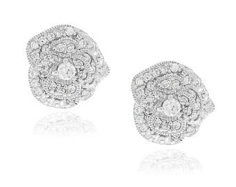 Sterling Silver Pave Rose Stud Earrings