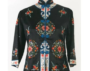 Vintage 1960's Asian Chinese Anhui Silk Embroidered Jacket l S