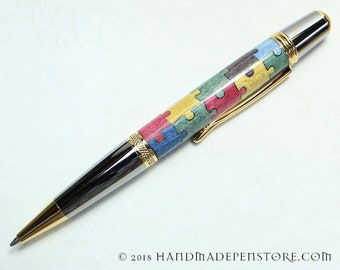 AUTISM AWARENESS Puzzle pen (#3) - wood inlayed in Black Titanium/Titanium Gold Sierra style pen