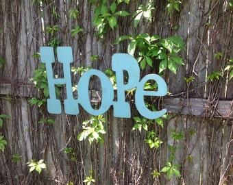 Hope, word art, wall art, metal word, metal art