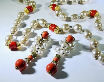 Long Baroque Pearl and Coral Necklace and Earrings