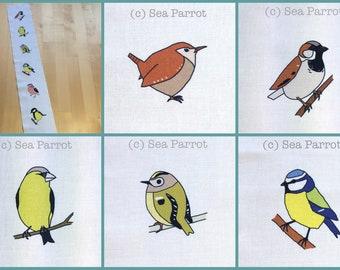 Spring garden birds fabric - 7 birds