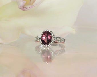 Pink Halo Ring, Oval Halo Ring, Tourmaline Ring, Pink Tourmaline Ring, Unique Tourmaline Ring, Pink Gemstone Ring, Gemstone Ring
