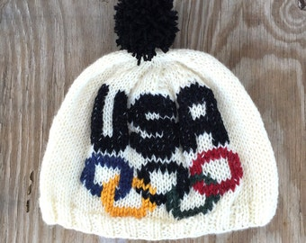 USA Hat, OLYMPIC Rings Hat, Olympics Hat, Hand Knit Hat,  Team USA
