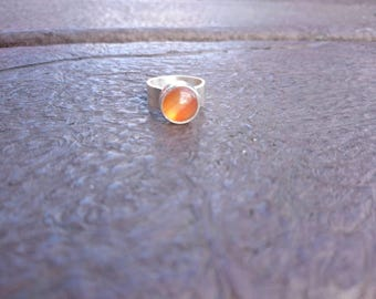 Carnelian Cabochon 925 Sterling Silver Statement Ring