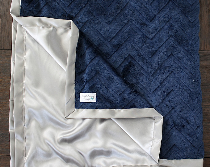 Minky Blanket, Baby boy, navy and grey, chevron blanket, blue and grey, Cowboys, satin blanket, silk blanket, child blanket, boy blanket