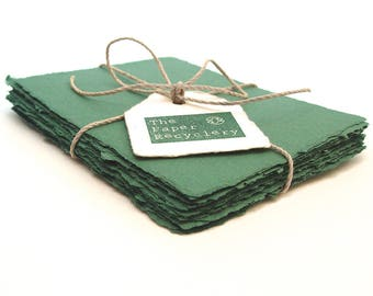 Dark green handmade paper, recycled, deckle edge, 10  sheets,  3.5 x 5 inch