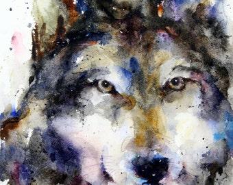 WOLF Watercolor Art Print by Dean Crouser