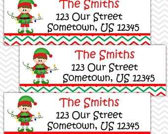 Christmas Elf Boy - Personalized Address labels, Stickers