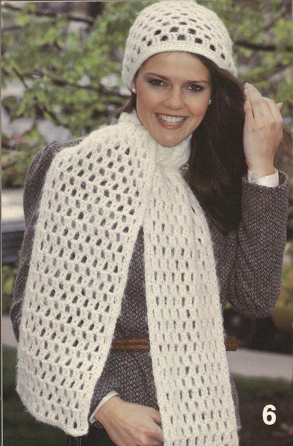 Snowdrift Set • 1980s Scarf & Hat Pattern • Vintage Crochet Patterns ...