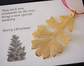 Gold Oak Leaf Ornament, Real Lacey Oak Leaf, Extra Large, Ornament Gift, Christmas Card, Happy Holiday Gift, First Christmas, ORNA8