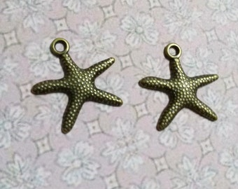 Starfish Charms-Nautical Charms-Ocean Charms-Antiqued Bronze-Wholesale Charms-Bulk Charms-100pcs