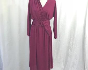 Vintage 70s Matti or Lynne Designer Fuschia Wrap Midi Secretary Dress M